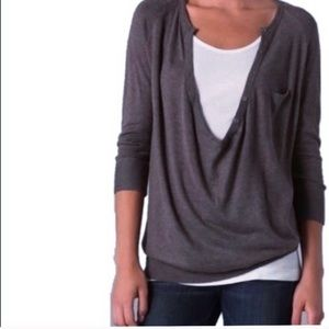 VINCE Cowl Neck Henley Sweater in Thunder Gray
